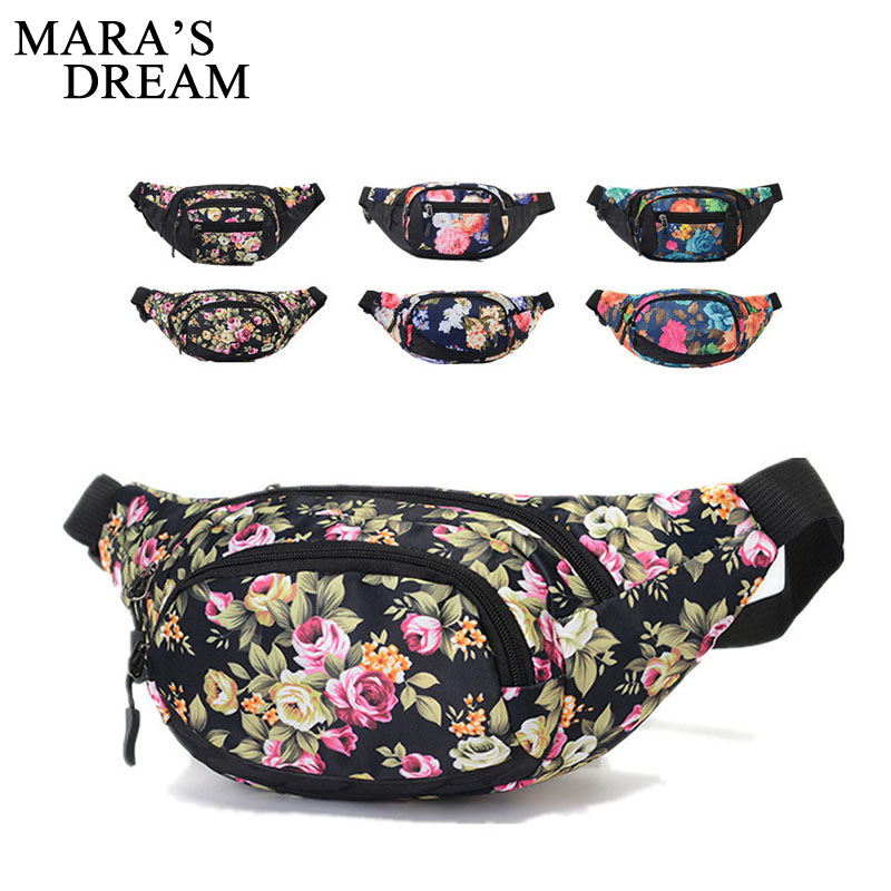 Mara's Dream New Colorful Waist Pack For Men Fanny Pack Floral Pattern Bum Bag Women Hip Money Belt Travelling Mobile Phone Bag new 3d colorful waist pack for men fanny pack style bum bag unicorn women money belt travelling mobile phone bag