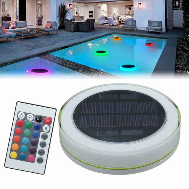 US $24.49 40% OFF|RGB LED Underwater Light Solar Power Pond Outdoor  Swimming Pool Floating Waterproof Decorative LED Light With Remote  Control-in LED ...