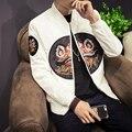 Primavera Chaqueta de Los Hombres de Moda 2017 Nuevos Mens Casual Chaqueta de Bombardero corea Ajuste Delgado Para Hombre Abrigos de Manga Larga Parche Diseño Rompevientos 5XL
