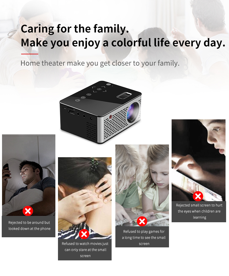 VIVICINE T200 Pocket LED Mini Projector,Touch keys HDMI USB AV Video Game Projector Beamer Support External Power Bank (2)
