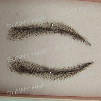0115 hand made human hairr hand knot fake eyebrow black 1B