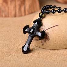 Natural Ice Clear Obsidian Stone Pendant Carved Cross Amulet Lucky Pendant Necklace Women Men's Fashion Stone Jewelry все цены