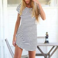 Lady V Collar Cotton Striped Short Sleeve Casual Classic Dress Female One Piece Dress Casual Cotton