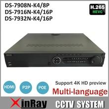 Hik POE NVR 8CH 16CH 32CH DS-7908N-K4/8 P DS-7916N-K4/16 P DS-7932N-K4/16 P con 4 K resolución 4 interfaz SATA NVR para la Cámara de CCTV