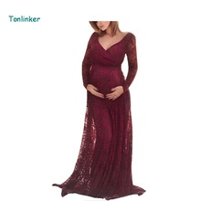 Tonlinker Fashion Pregnant Women long sleeves Lace Fancy Sexy dress Maternity Dress for Photo Shoot  Maternity Photography Props недорого