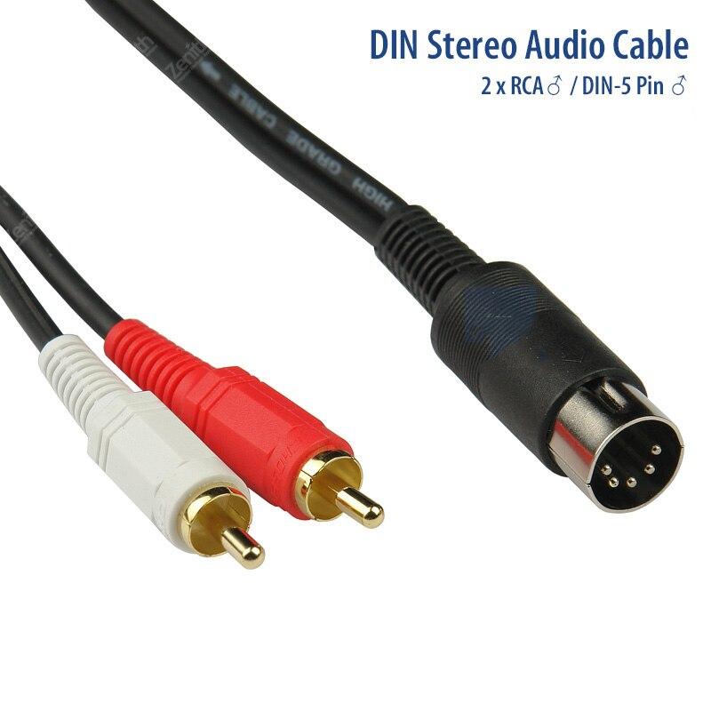 Gusou 5 p din à 2 rca mâle adaptateur câble audio vidéo av câbles longueur 0.9 m m/m 5 broches