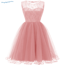 New fall 2018 round collars vintage lace sleeveless dress for the banquet pink