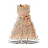 פרח מדהים שמפניה שמלות ילדה קטנה שמלת מסיבת ערב Dace כיתה המפואר של הילדים תינוקת יום הולדת שמלת נשף שמלה