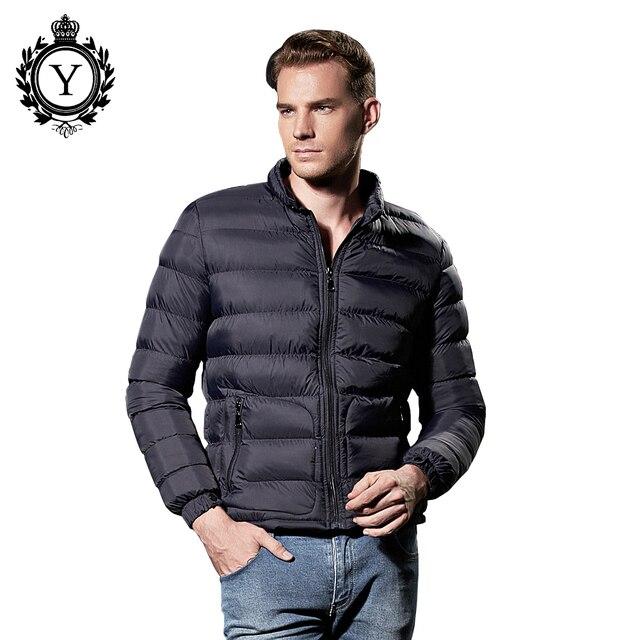 2016 Fashion Suitable Windrbeaker Solid Lightweight Winter Jacket Men Nylon Navy Zipper Western Puffer Down Coat Plus Size 8853