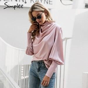 Image 2 - Simplee Vintage สีชมพูซาตินเสื้อผู้หญิงเต่าคอหรูหราเสื้อเสื้อแขนยาวแฟชั่น elegant party tops