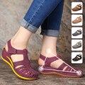 Женские удобные прогулочные сандалии на танкетке с застежкой-липучкой удобные нескользящие легкие босоножки на танкетке с круглым носком ...