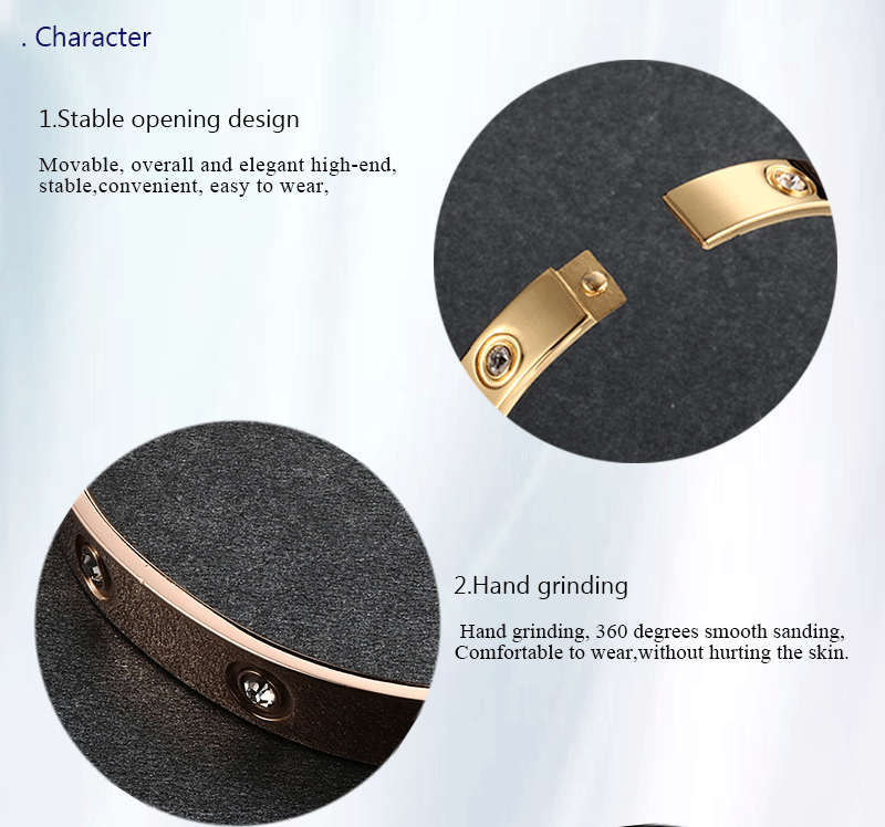 Trendy Rose Gold Love Bracelets Bangles Women Gold Color Stainless Steel Charming CZ Cuff Bracelet Lovers Luxury Brand Jewellery 4