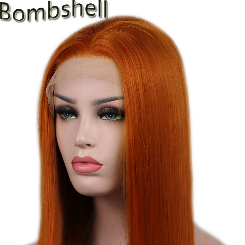 Bombshell 180 Density Straight Orange Synthetic hair Lace Front Wig Natural Hairline Middle Part For White