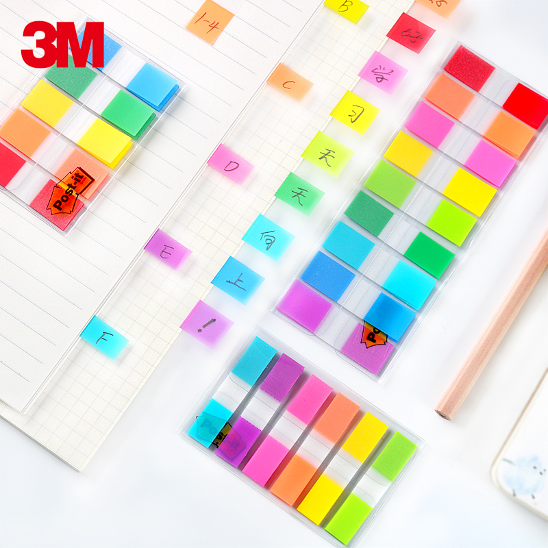 3M Post It Sticky Note 5 Colors*10pcs Self Adhesive Page Flags Writable Index PVC Clear Memo Pad School Office Supplies 683-5CF