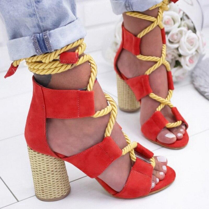 2019 Espadrilles d'été femmes sandales à talons hauts bouche pointue sandales chanvre sandale talons hauts chaussures à bout ouvert femme 8