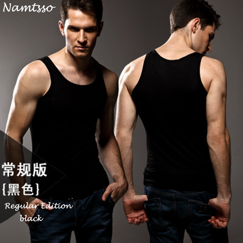 3pcs High quality Men's modal Solid color underwear clothing close fitting vest lycra high elasticity broad shoulder undershirts-in Undershirts from Underwear & Sleepwears