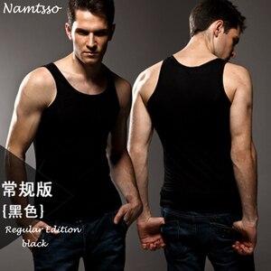 Image 1 - 3pcs High quality Mens modal Solid color underwear clothing close fitting vest lycra high elasticity broad shoulder undershirts