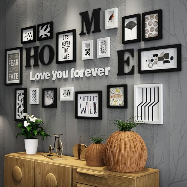 17pcs Solid Wood Large Picture Frames Modern Living Room Photo Frame Set Size Wooden Letter Home Wall Decoration Diy