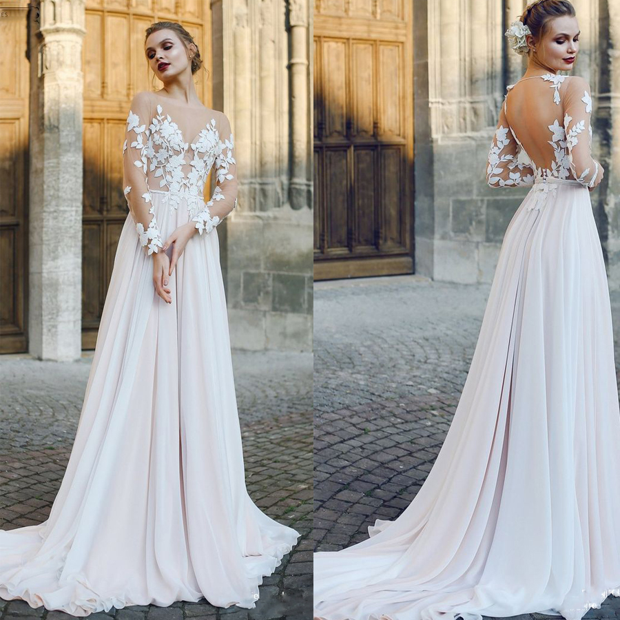 Scoop Tulle Neckline Long Sleeves Lace Applique A line Wedding Dress with Backless Sweep Train Illusion