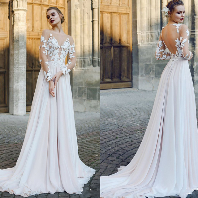 Scoop Tulle Neckline Long Sleeves Lace Applique A line Wedding Dress with Backless Sweep Train Illusion Robe de mariée