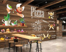 beibehang Custom Wall Mural Hand Painted Pizza dining 3D Photo Wallpaper Cafe Dessert Shop Western Restaurant Wall 3d wallpaper