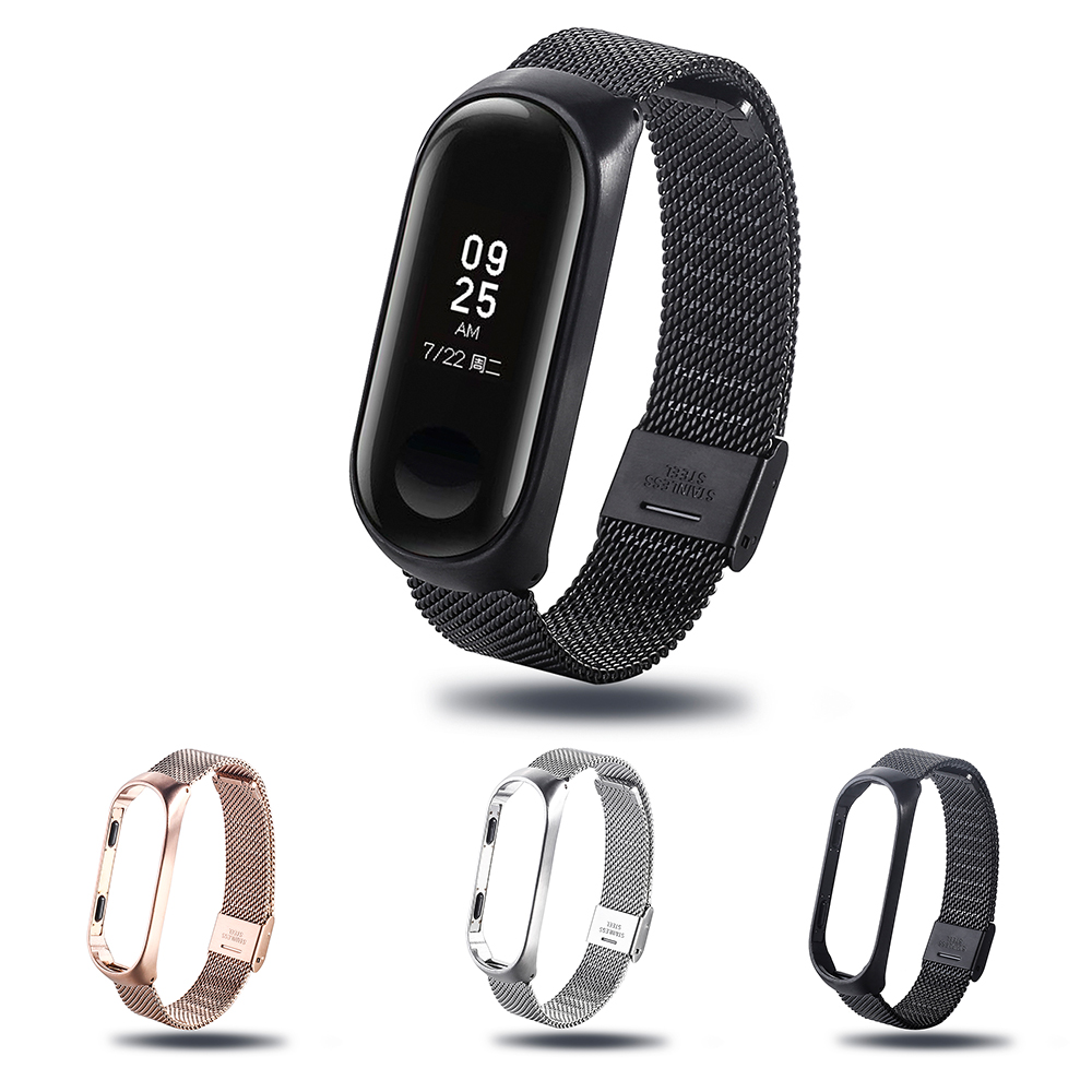 Mi band Strap for xiaomi mi band 3 4 Watch Bracelet Stainless Steel Watchband Smart Watch Replaceable Strap For Miband 4 3 Strap(China)