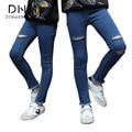 Dressnomore Nuevas 2017 Muchachas del Resorte Ripped Flaco Lápiz Jeans Denim Leggings Pantalones Niños Jeans Ajustados 6-16 años