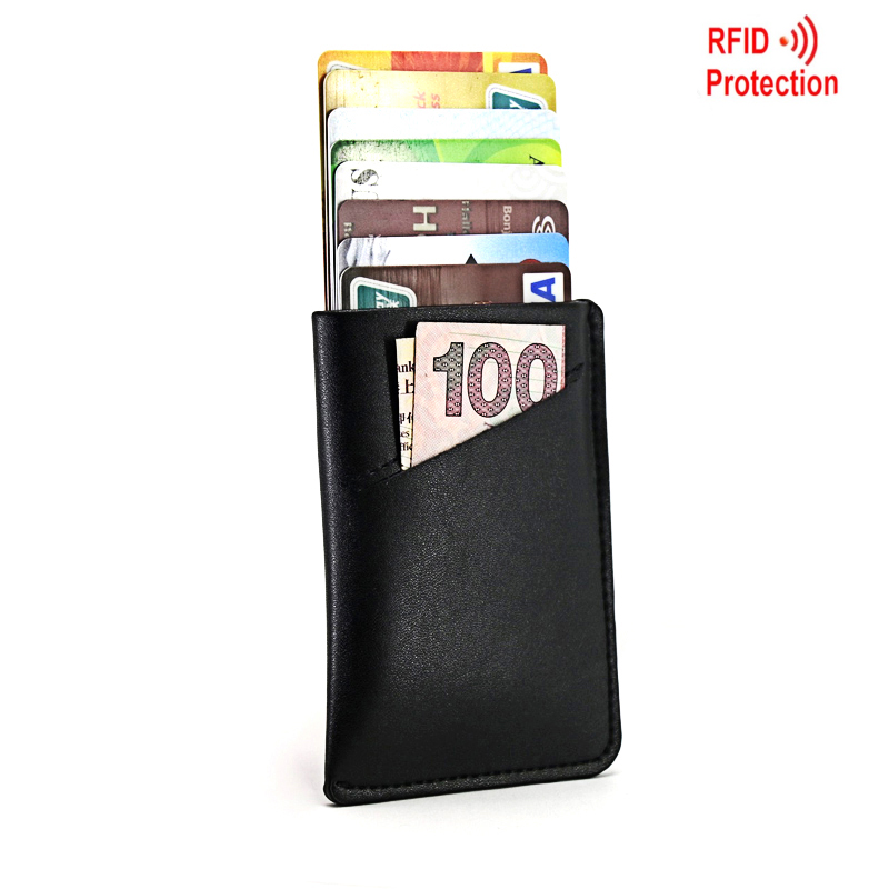 830a242a67e7 US $7.34 50% OFF|RFID Blocking Credit Card Holder Men Women Leather Front  Pocket Purse Pull Tab Thin Wallet-in Card & ID Holders from Luggage & Bags  ...