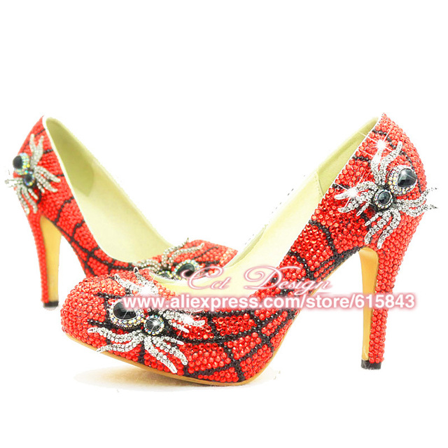 ddec5503fdbf 2016 Unique Design Sexy High Heel Red Crystal Spider Funky Wedding Bridal  For Evening Party Shoes Woman