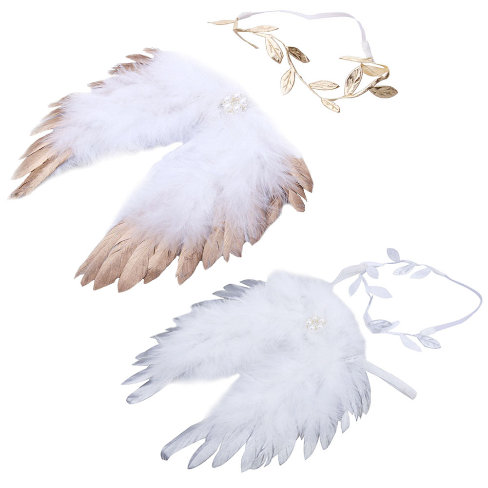 Newborn Baby Clothing Set Photography Props Accessories Baby Boy Girls Angel Feather Wings+ Leaves Pattern Hair Headband Set sweet lovely rhinestone feather plume unusual angel girls baby headband white