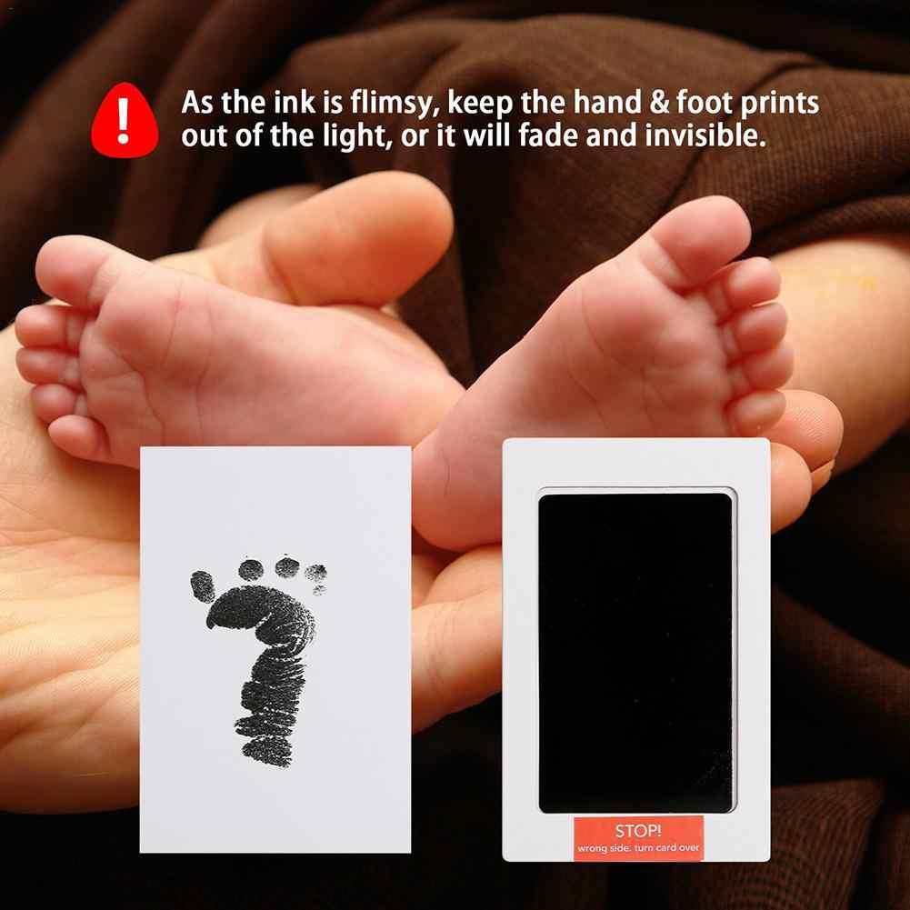 2Pcs Footprint Newborn Handprint Stamp Imprint Cards Non-toxic Baby Infant Ink Pad Inkless Mess Free Baby Souvenir Safe