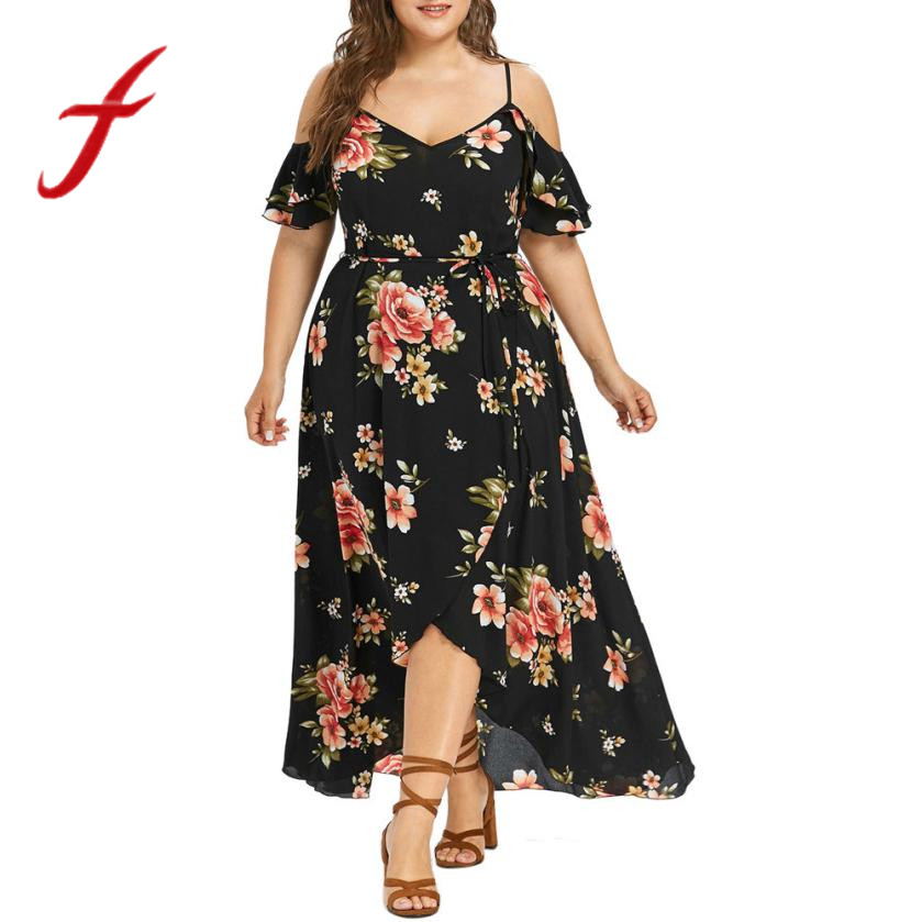 Womens Short Sleeve Party Long Dress Ladies Cold Shoulder Boho Swing Sundress VS