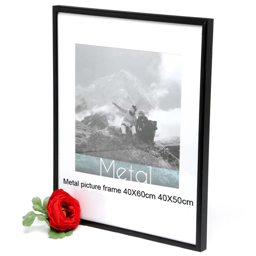 40x50cm 40x60cm picture frame metal poster frame classic aluminum photo frames for wall hanging. Black Bedroom Furniture Sets. Home Design Ideas