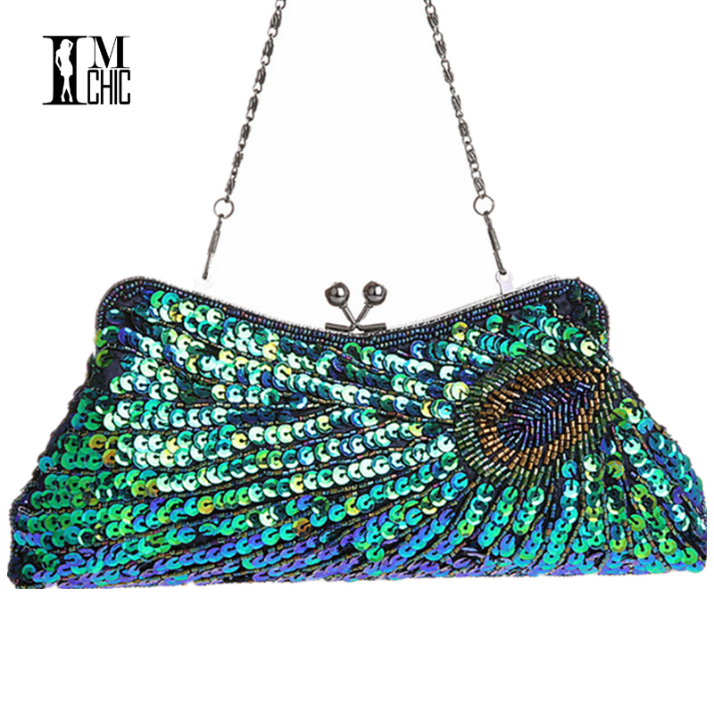 Vintage Peacock Pattern Women Evening Bags Sequins Beaded ...