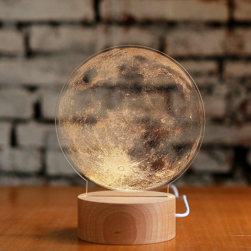 Rêveur créatif lune 3D lampe de table lune nuit lampe anniversaire saint valentin cadeau de noël lampes de bureau bar lampes de nuit ZA1128513