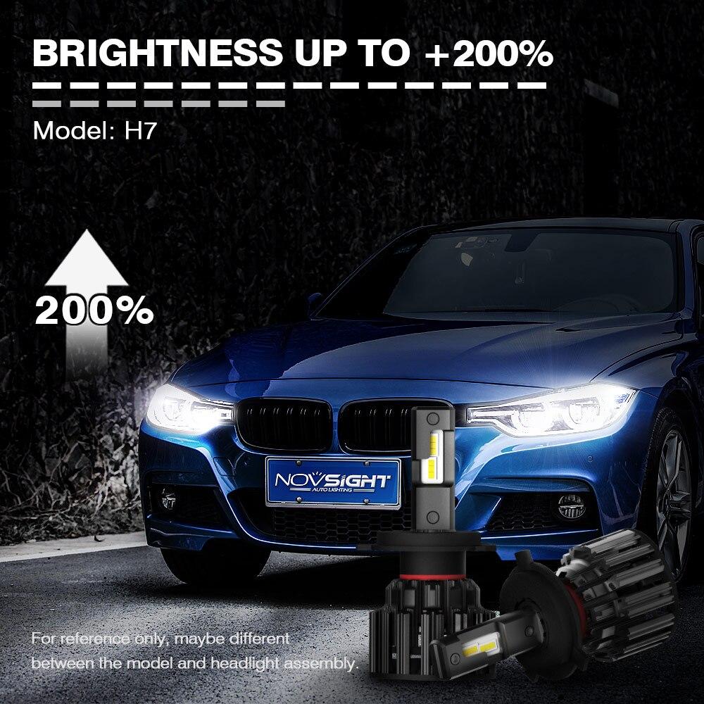 NOVSIGHT H7 светодиодный H4 H11 9006 9005 яркие автомобильные лампы, лампы 100W 20000LM декодер светодиодная фара головного света автомобиля передние фары 6000K 12V 24V - 2
