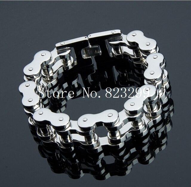 "New Brand Stainless Steel 18mm Width Heavy Motorcycle Bike Chain Bracelet jewelry 9"""