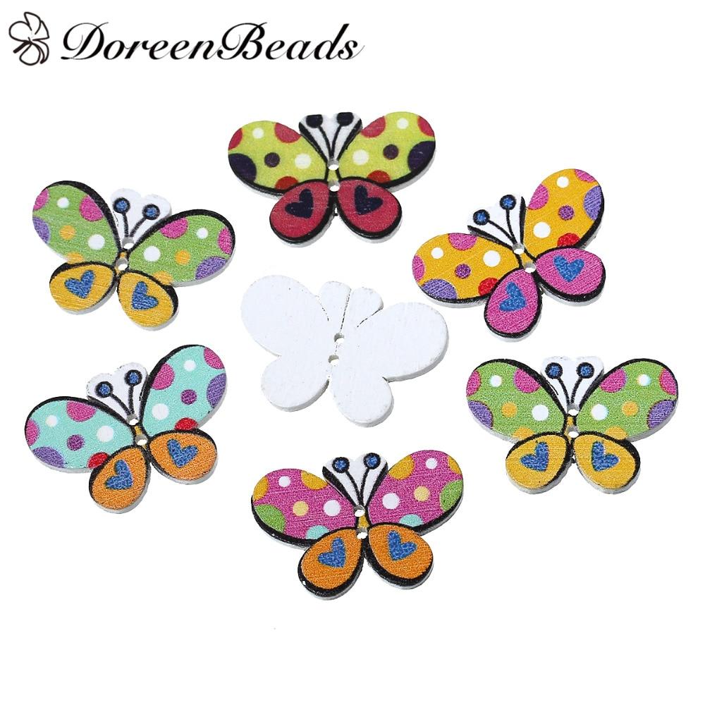 ᐊDoreenbeads madera Costura Botones mariposa de scrapbooking al ...