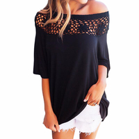 Off Shoulder Tops Women Blouses Shirts Patchwork Hollow Out Lace Blouse WS490E