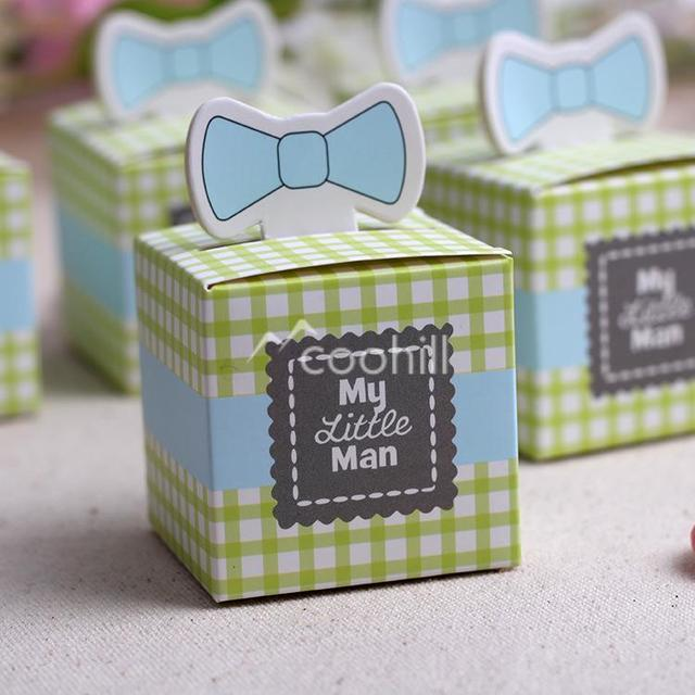 50pcs Greenblue My Little Man Cute Bow Pattern Baby Shower Candy