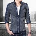 2017 новое прибытие Высокого качества джинсовой ткани ИСКУССТВЕННАЯ кожа куртка собраны Европейский специальный line доставка плюс размер 3 цвет