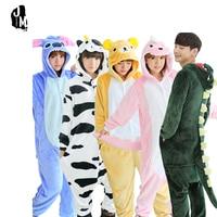 Autumn Spring Winter Flannel Lovers Couples Women Animal Pajamas One Piece Cartoon Sleepwear Kugurumi Cheap Adult