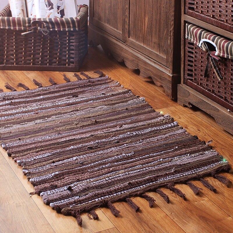 EHOMEBUY 2018 Rug Hand Braided Mediterranean Cotton Carpet Home Decor Mats Kids Adults Brown Splicing Rectangle Tassel