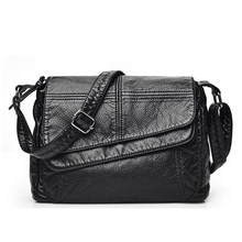 3a8104484 Solapa bolso de mano suave y lavado Artificial de las mujeres de cuero bolsa  de mensajero para mujer bolsa de hombro bolsa peque.