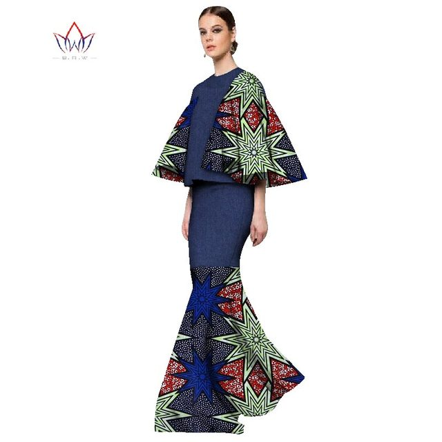 5fa201b8df1 African Print Two Piece Set For Women 2019 Fashion Dashiki Three Quarter  Sleeve Africa Clothes Crop Top and Skirt Set WY1124