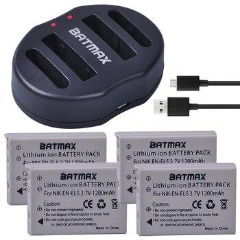 4-Pack EN-EL5 Li-ion Digital Camera Batteries+EN EL5 Battery Dual USB Charger for Nikon Coolpix P90 P500 P510 P520