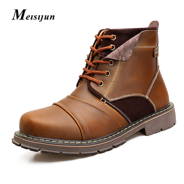 MEISIJUN Autumn winter no/plus cashmere leather martin boots breathable high help tooling shoes warm snow boots