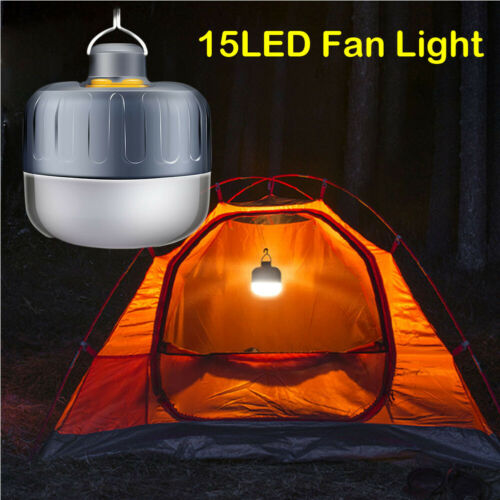 15 LED Mini Outdoor Camping Fan Light Portable Tent Night Lamp Hiking Lantern Lamp
