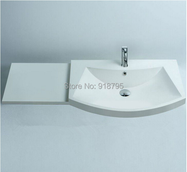 Rectangular Matt Solid Surface Stone Counter Top Wash Sink Bathroom Wall Hung Washbasin RS3804 594