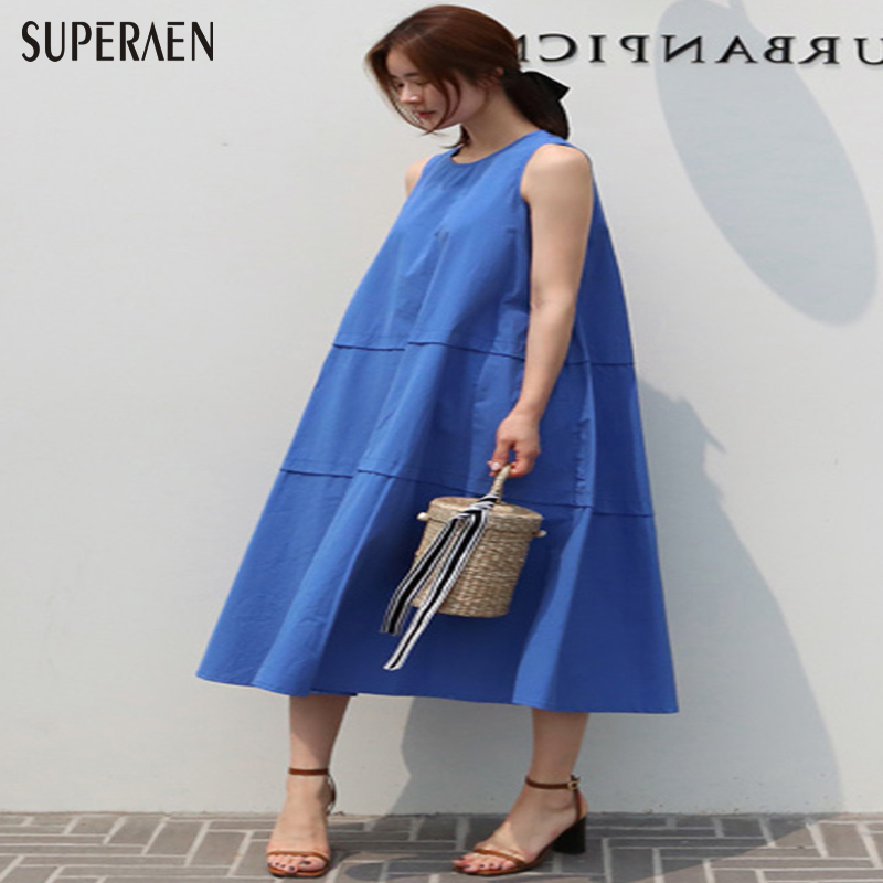 SuperAen Women Sleeveless Dress Summer 2018 New Fashion Korean Style Women Long Dress Cotton Casual Loose